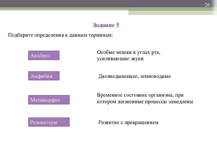 Задание 5 Подберите определения к данным терминам: * Анабиоз Амфибия Метаморф...