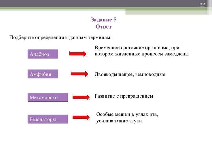Задание 5 Ответ Подберите определения к данным терминам: * Анабиоз Амфибия Ме...