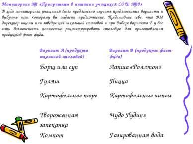 Мониторинг №1 «Приоритеты в питании учащихся СОШ №20» В ходе мониторинга учащ...
