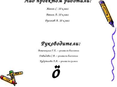 Над проектом работали: Жагин С. 10 класс Ванин Л. 10 класс Русинов А. 10 клас...
