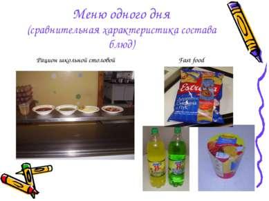 Меню одного дня (сравнительная характеристика состава блюд) Рацион школьной с...
