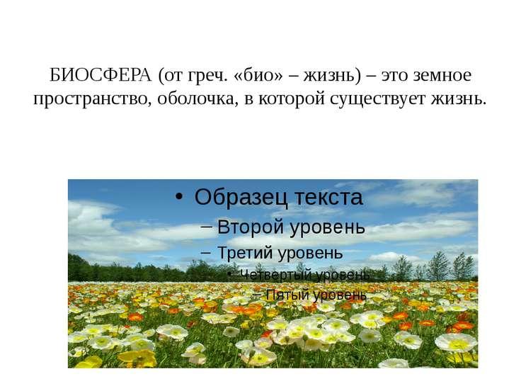 БИОСФЕРА (от греч. «био» – жизнь) – это земное пространство, оболочка, в кото...