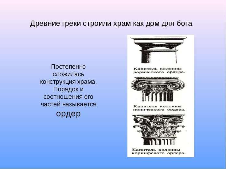 Древние греки строили храм как дом для бога Постепенно сложилась конструкция ...