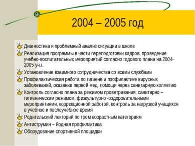 2004 – 2005 год Диагностика и проблемный анализ ситуации в школе Реализация п...