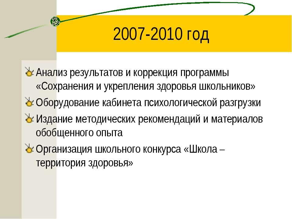 2007-2010 год Анализ результатов и коррекция программы «Сохранения и укреплен...