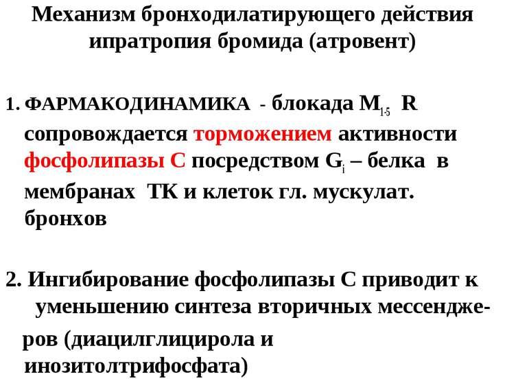 Механизм бронходилатирующего действия ипратропия бромида (атровент) 1. ФАРМАК...