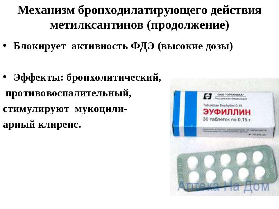 Механизм бронходилатирующего действия метилксантинов (продолжение) Блокирует ...