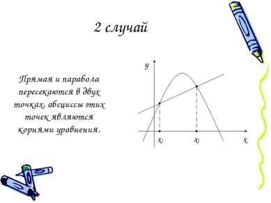 2 случай Прямая и парабола пересекаются в двух точках, абсциссы этих точек яв...