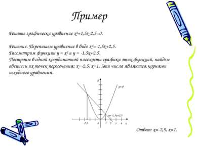Пример Решите графически уравнение х²+1,5х-2,5=0. Решение. Перепишем уравнени...