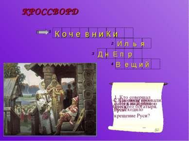 КРОССВОРД 1. Кто совершал набеги на Древнюю Русь? 1 2 3 2. Назовите имя русск...