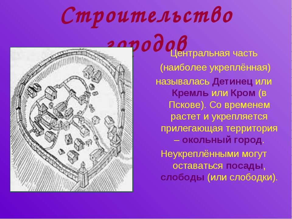 Строительство городов Центральная часть (наиболее укреплённая) называлась Дет...