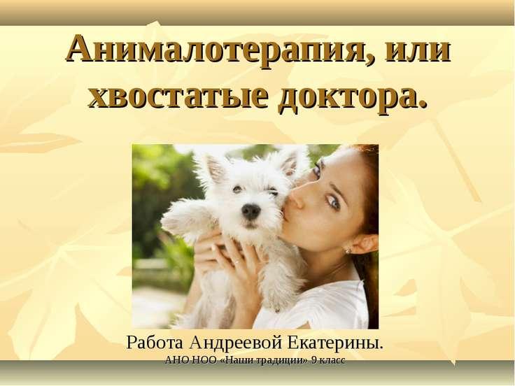 Анималотерапия, или хвостатые доктора. Работа Андреевой Екатерины. АНО НОО «Н...