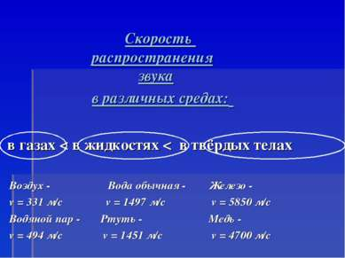 в газах < в жидкостях < в твёрдых телах Воздух - Вода обычная - Железо - v = ...