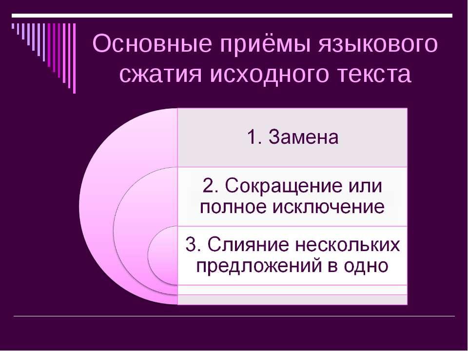 Основные приёмы языкового сжатия исходного текста