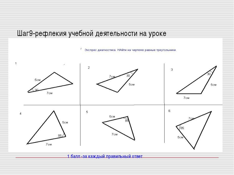 Шаг9-рефлекия учебной деятельности на уроке 1 балл -за каждый правильный ответ