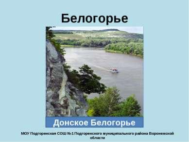 Белогорье Донское Белогорье МОУ Подгоренская СОШ №1 Подгоренского муниципальн...