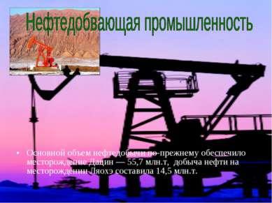Основной объем нефтедобычи по-прежнему обеспечило месторождение Дацин — 55,7 ...
