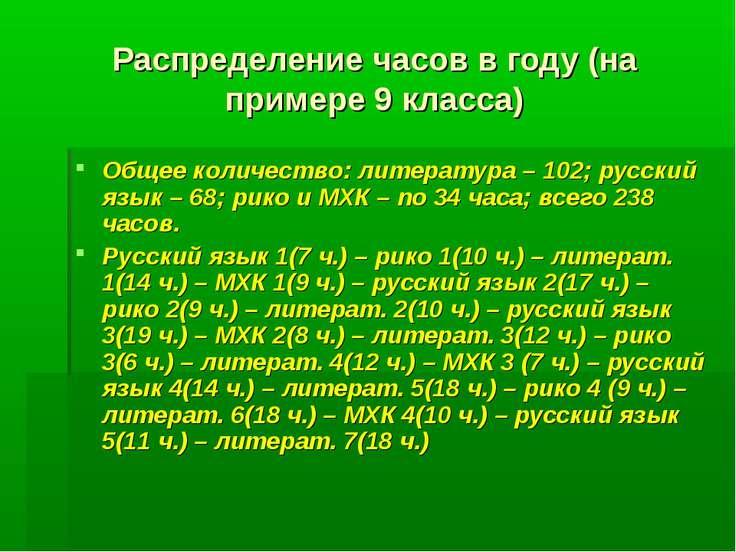 Распределение часов в году (на примере 9 класса) Общее количество: литература...