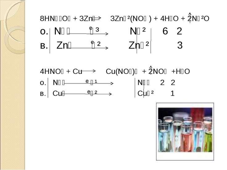 8HN⁺⁵O₃ + 3Zn⁰ 3Zn⁺²(NO₃ ) + 4H₂O + 2N⁺²O о. N⁺⁵ ⁺³ N⁺² 6 2 в. Zn⁰ ⁻² Zn⁺² 3 ...
