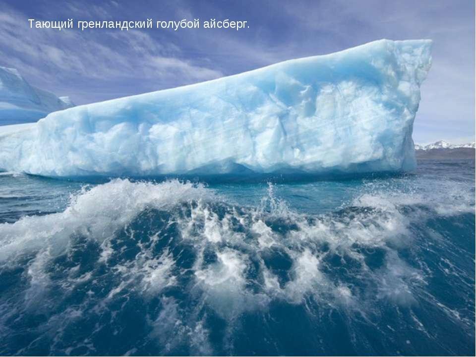 Тающий гренландский голубой айсберг.