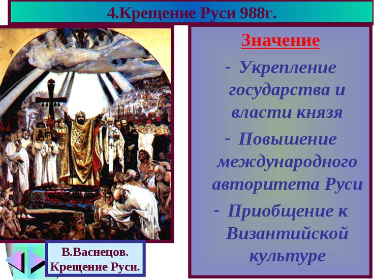 4.Крещение Руси 988г. Значение Укрепление государства и власти князя Повышени...