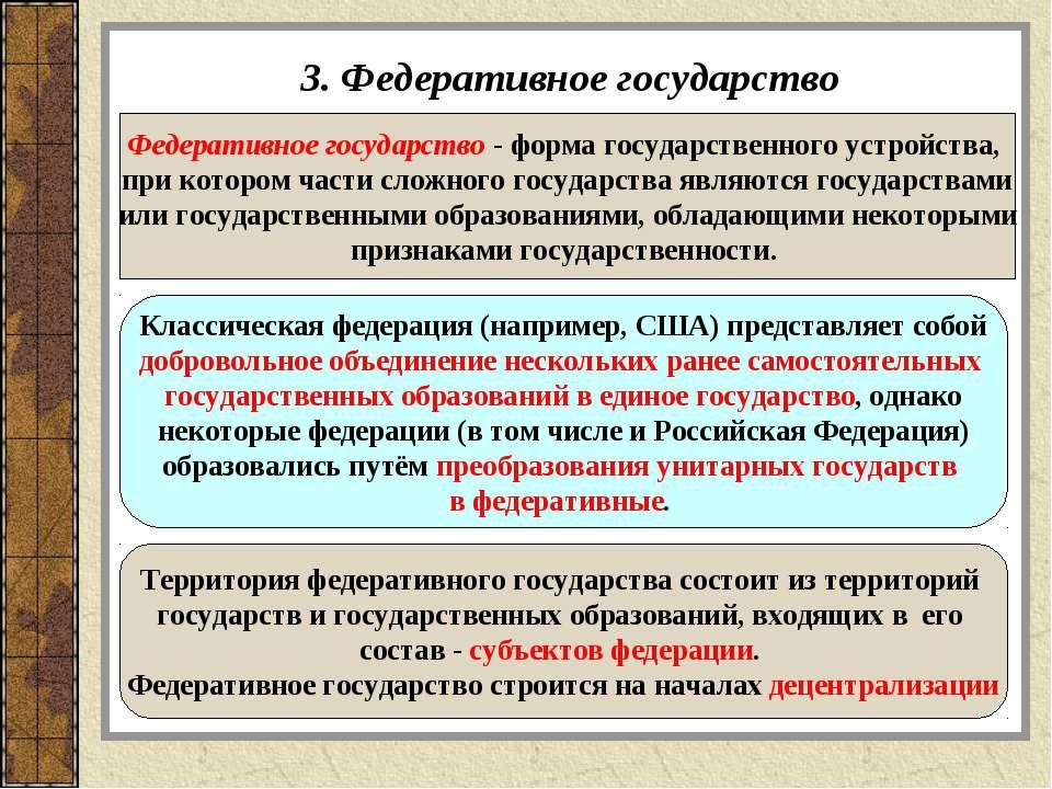 3. Федеративное государство Федеративное государство - форма государственного...