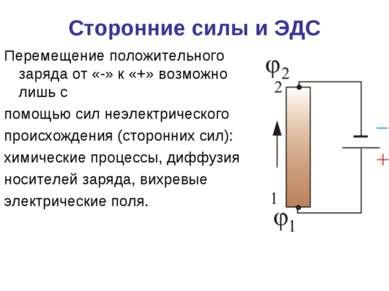 Перемещение положительного заряда от «-» к «+» возможно лишь с помощью сил не...