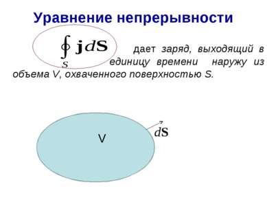 Уравнение непрерывности дает заряд, выходящий в единицу времени наружу из объ...