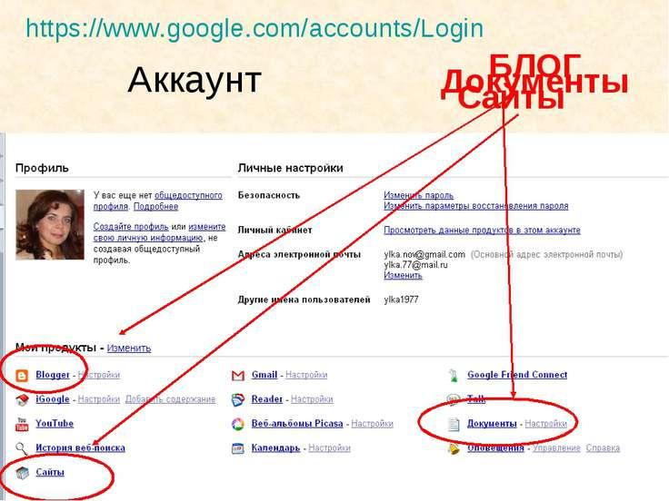 Аккаунт БЛОГ Документы Сайты https://www.google.com/accounts/Login