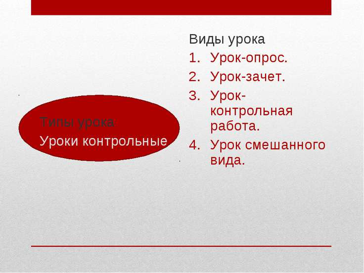 Типы урока Уроки контрольные Виды урока Урок-опрос. Урок-зачет. Урок- контрол...