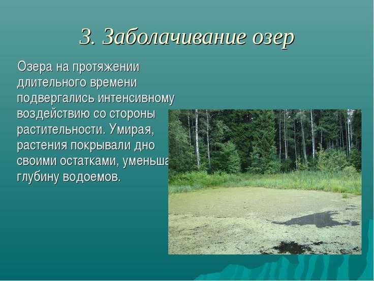 3. Заболачивание озер Озера на протяжении длительного времени подвергались ин...