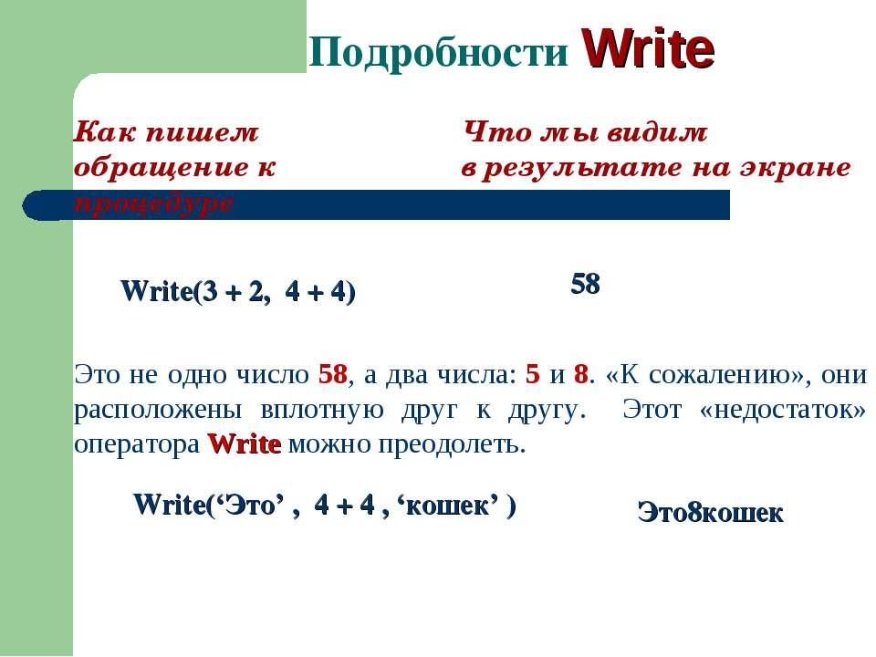 Подробности Write Как пишем обращение к процедуре Что мы видим в результате н...