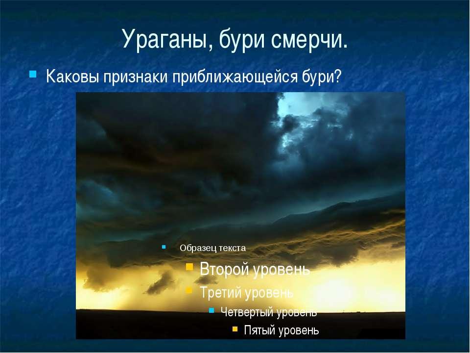 Ураганы, бури смерчи. Каковы признаки приближающейся бури?