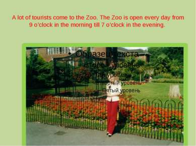 A lot of tourists come to the Zoo. The Zoo is open every day from 9 o'clock i...