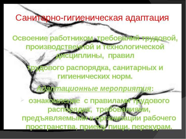 Санитарно-гигиеническая адаптация Освоение работником требований трудовой, пр...