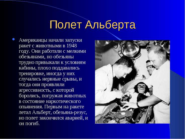 Полет Альберта Американцы начали запуски ракет с животными в 1948 году. Они р...