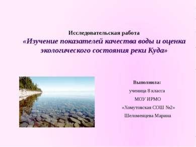 Исследовательская работа «Изучение показателей качества воды и оценка экологи...
