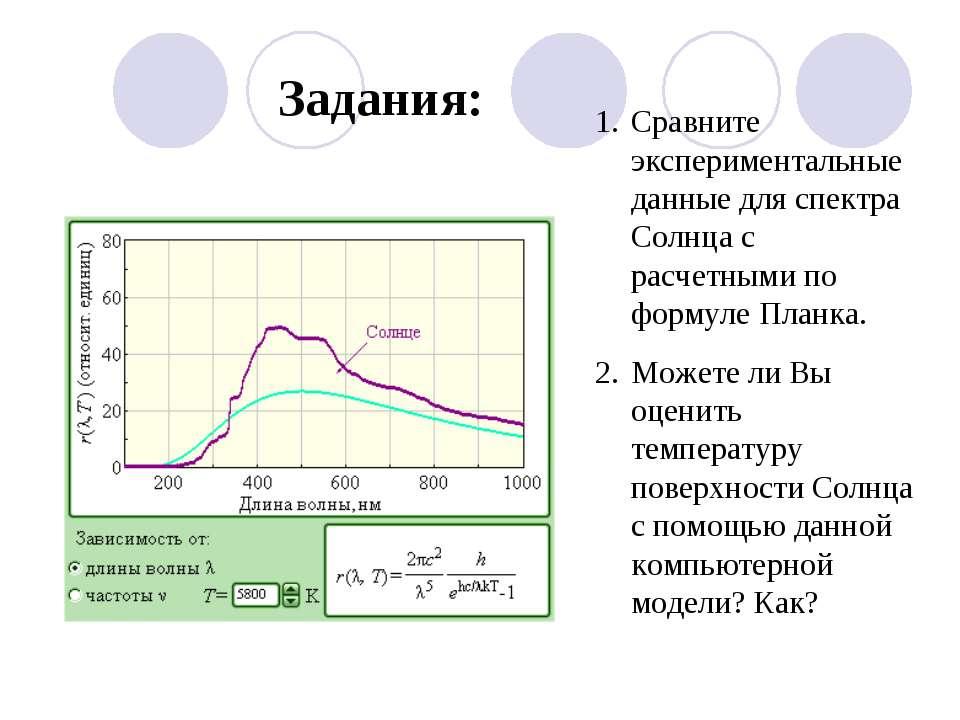 Задания: Сравните экспериментальные данные для спектра Солнца с расчетными по...