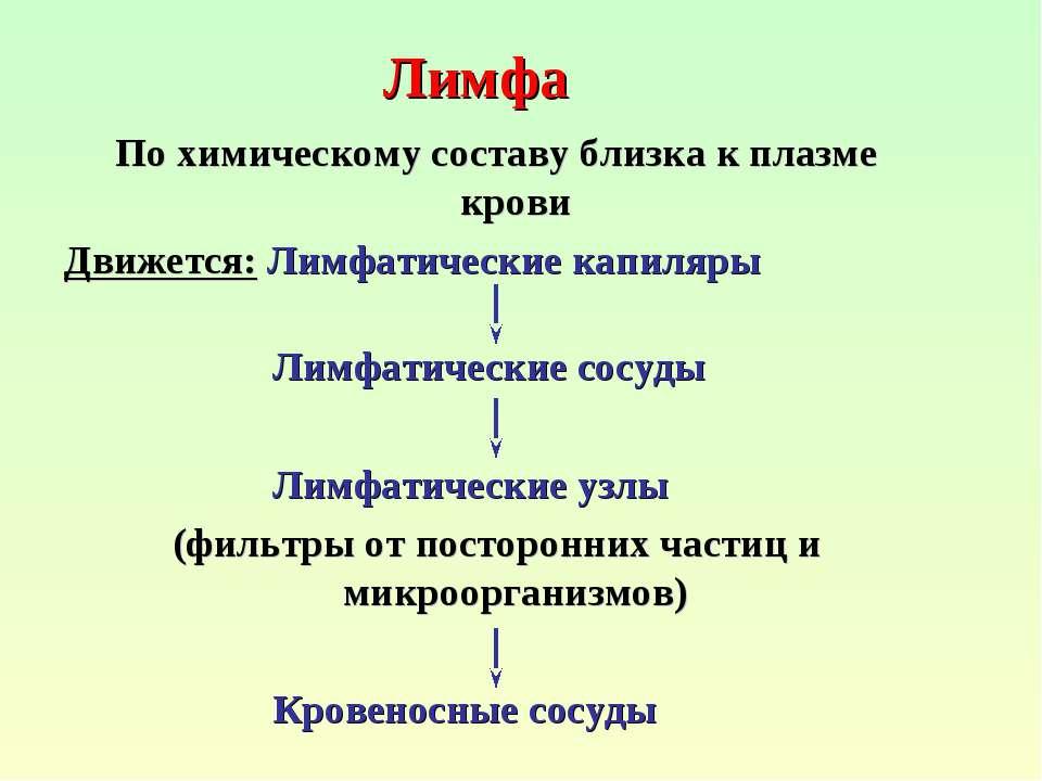 Лимфа По химическому составу близка к плазме крови Движется: Лимфатические ка...