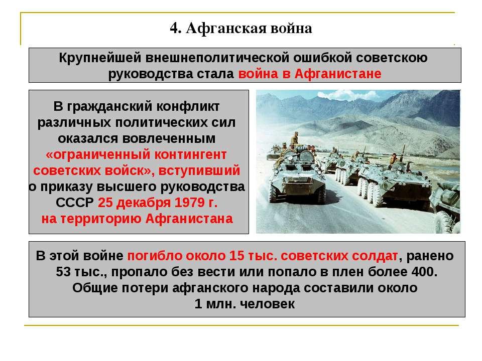 4. Афганская война Крупнейшей внешнеполитической ошибкой советскою руководств...
