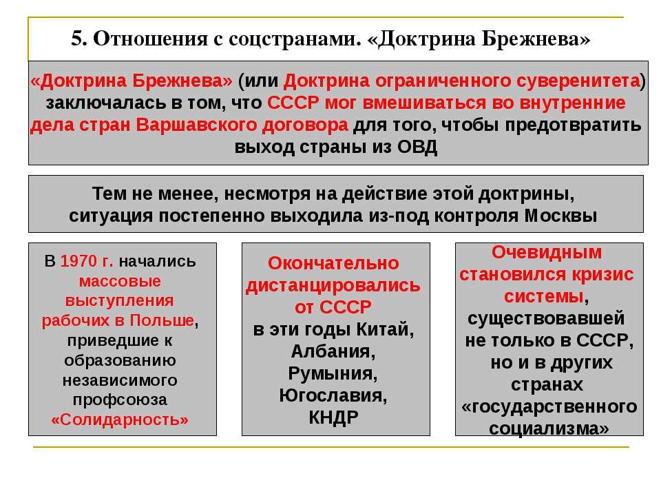 5. Отношения с соцстранами. «Доктрина Брежнева» «Доктрина Брежнева» (или Докт...