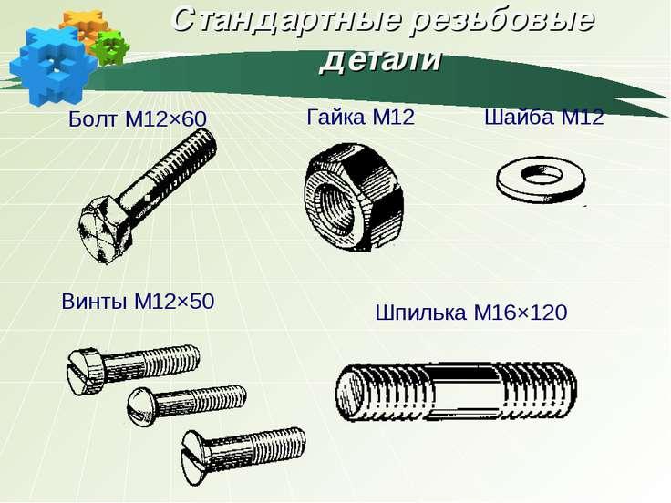 Стандартные резьбовые детали Болт М12×60 Гайка М12 Шайба М12 Винты М12×50 Шпи...