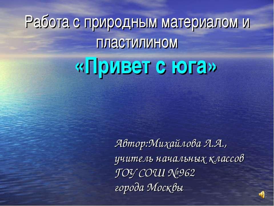 Работа с природным материалом и пластилином «Привет с юга» Автор:Михайлова Л....