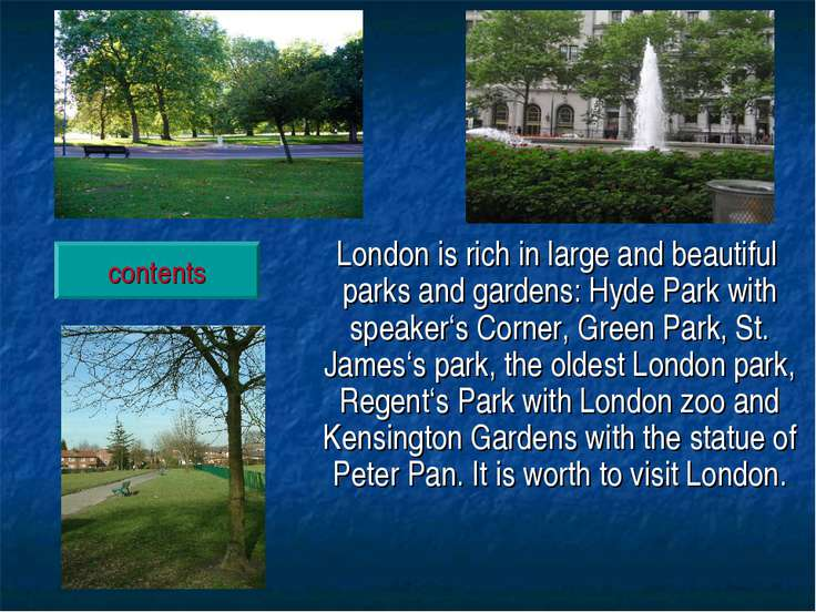London is rich in large and beautiful parks and gardens: Hyde Park with speak...