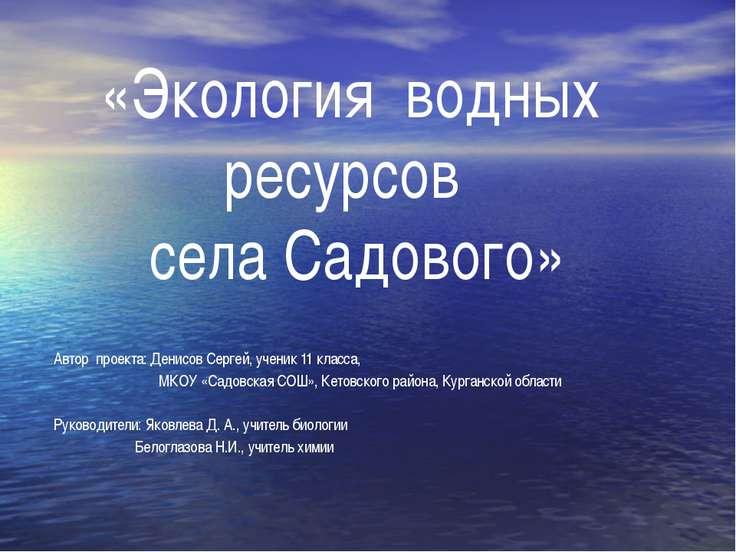 «Экология водных ресурсов села Садового» Автор проекта: Денисов Сергей, учени...