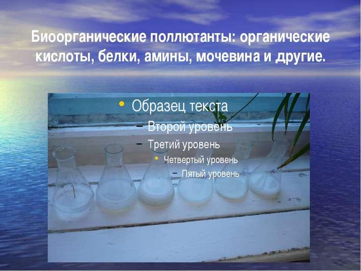 Биоорганические поллютанты: органические кислоты, белки, амины, мочевина и др...