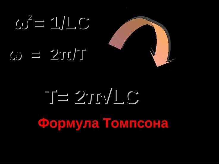 ω = 1/LC 2 Т= 2π√LC Формула Томпсона ω = 2π/T