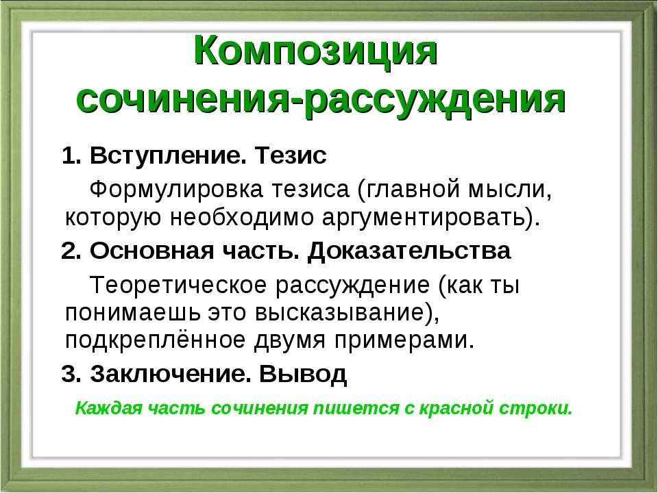 Композиция сочинения-рассуждения 1. Вступление. Тезис Формулировка тезиса (гл...