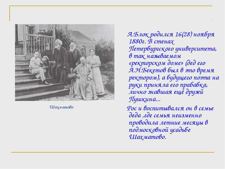 Шахматово А.Блок родился 16(28) ноября 1880г. В стенах Петербургского универс...