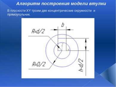 Алгоритм построения модели втулки В плоскостиXYтроим две концентрические ок...